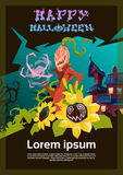 Happy Halloween Banner House With Ghosts Party Invitation Card Royalty Free Stock Photo