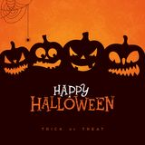 Happy Halloween banner illustration with scary faced pumpkins, spider and cobweb on orange background. Vector Holiday. Design template with typography lettering stock illustration