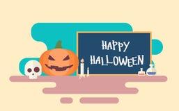 Happy Halloween Banner Invitation Card Skull Pumpkin Face. Flat Vector Illustration Royalty Free Stock Photo