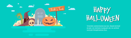 Happy Halloween Banner Invitation Card Tomb Stone Pumpkin Face Royalty Free Stock Images