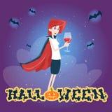 Happy Halloween Banner Invitation Card Vampire Cartoon Woman Character Stock Photos