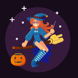 Happy Halloween Banner Invitation Card Witch on broom Flat Vector Illustration Stock Photography