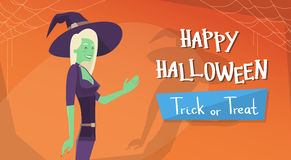 Happy Halloween Banner Invitation Card Witch Cartoon Character Stock Images