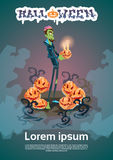 Happy Halloween Banner Invitation Card Zombie Man Hold Pumpkin Stock Photo