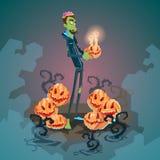 Happy Halloween Banner Invitation Card Zombie Man Hold Pumpkin Stock Photography