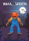 Happy Halloween Banner Jack With Pumpkin Scary Face Stock Photography