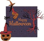 Happy Halloween! Banner. In the middle is the inscription. vector illustration