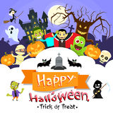 Happy Halloween Banner Monsters Flyer Collection. Copy Space Poster Flat Vector Illustration Royalty Free Stock Photography