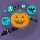 Happy Halloween Banner Pumpkin Scary Face Royalty Free Stock Photos