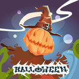 Happy Halloween Banner Scarecrow With Pumpkin Scary Face Royalty Free Stock Image