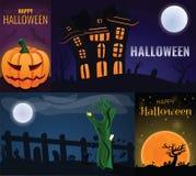 Happy Halloween banner set, cartoon style stock illustration