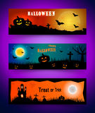 Happy halloween banner set. Collection of header Stock Image