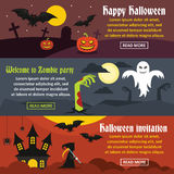 Happy Halloween banner set, flat style Stock Photo