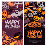 Happy Halloween  banner set. Hand drawn doodle pumpkin, skull, witch hat, bones, candies, ghost, broom, cauldron. Stock Images