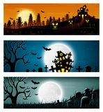 Happy Halloween banner set with pumpkins and castle. Illustration of Happy Halloween banner set with pumpkins and castle Stock Photos