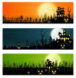 Happy Halloween banner set with pumpkins and castle. Illustration of Happy Halloween banner set with pumpkins and castle Royalty Free Stock Photos