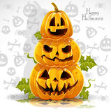 Happy Halloween banner with terrible pumpkins. Festive midnight October 31 Stock Images