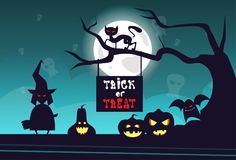 Happy Halloween Banner Trick Or Treat Concept Holiday Greeting Card Horror Party. Flat Vector Illustration Royalty Free Stock Photography