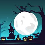 Happy Halloween Banner Trick Or Treat Concept Holiday Greeting Card Horror Party. Flat Vector Illustration Royalty Free Stock Image