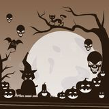 Happy Halloween Banner Trick Or Treat Concept Holiday Greeting Card Horror Party. Flat Vector Illustration Stock Photo