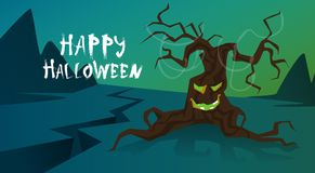 Happy Halloween Banner Trick Or Treat Concept Holiday Greeting Card Horror Scary Tree. Flat Vector Illustration Stock Photos
