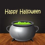 Happy halloween banner with witch cauldron boiling the potion. Royalty Free Stock Photos