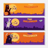 Happy Halloween banners set design with spooky animals Stock Image