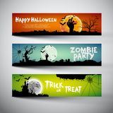 Happy Halloween banners set. Design, Trick or treat, Zombie party,  illustration Royalty Free Stock Photography