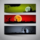 Happy Halloween banners set. Design, Trick or treat, Zombie party,  illustration Royalty Free Stock Image