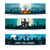 Happy Halloween banners set Stock Image