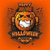 Happy Halloween. Baseball ball inside pumpkin