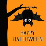Happy Halloween. Bat hanging on tree. Cute cartoon baby character with big open wing, ears, legs. Black silhouette. Forest animal. royalty free illustration