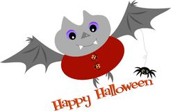 Happy Halloween Bat and Spider Stock Images