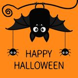 Happy Halloween. Bat Spiders insect hanging. Cute cartoon baby character with big open wing, ears, legs. Black silhouette. Forest vector illustration