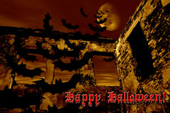 Happy Halloween. Bats are flying over the old ruin Royalty Free Stock Photos