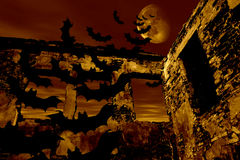 Happy Halloween. Bats are flying over the old ruin Stock Photos