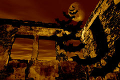 Happy Halloween. Bats are flying over the old ruin stock illustration