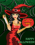 Happy halloween. Beautiful witch with a knife Stock Photo