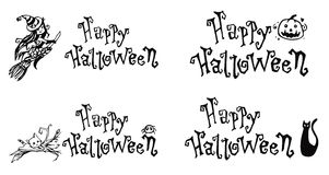 Happy Halloween Black Captions Stock Photography