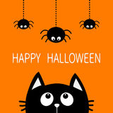 Happy Halloween. Black cat face head silhouette looking up to three hanging   Stock Image