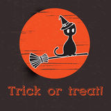 Happy halloween and black cat on the moon Royalty Free Stock Photos