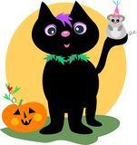 Happy Halloween Black Cat and Mouse Stock Photography