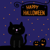 Happy Halloween black cat and pumpkins card. Royalty Free Stock Images