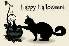 Happy Halloween black cat, vector Royalty Free Stock Image