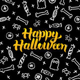 Happy Halloween Black Gold Postcard Royalty Free Stock Photos