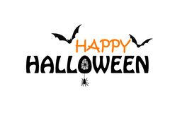 Happy Halloween black and orange text on the white background with bats spider stock illustration