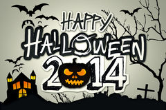 Happy Halloween 2014 Black Pumpkin Night Graveyard. Digital Art royalty free illustration
