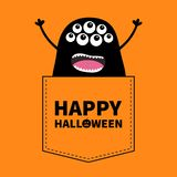 Happy Halloween. Black screaming monster silhouette in the pocket. Hands up. Cute cartoon scary funny character. Baby collection. vector illustration