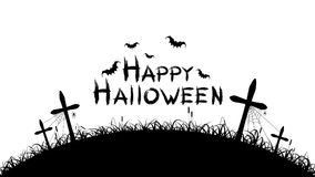 Happy halloween. Black text banner on a white background. Cemetery with crosses. Spiders, bats and spiderweb. Grunge text. Vector vector illustration