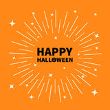 Happy halloween black text Pumpkin smiling face silhouette. Sunburst round line circle. Shining effect stars. Abstract Stock Image